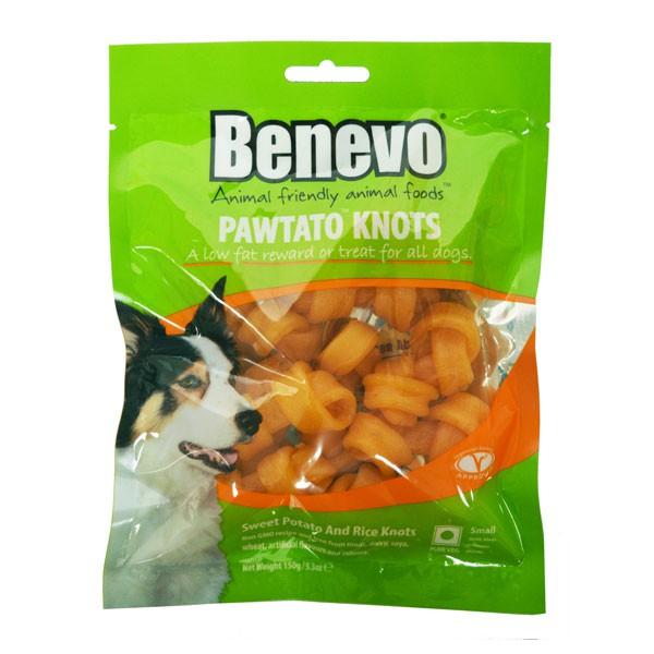 Benevo Hundesnack Vegane Süßkartoffelknochen Pawtato Knots 150g