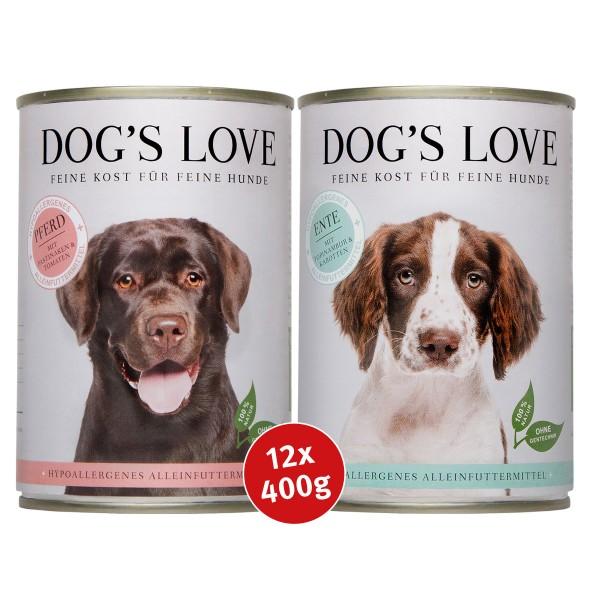 Dog's Love Hypoallergen Mixpaket Ente & Pferd 12x400g