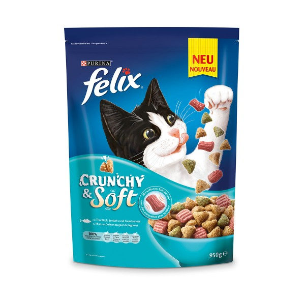 FELIX Crunchy & Soft mit Thunfisch, Seelachs und Gemüsenote
