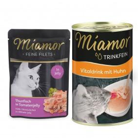 Miamor Feine Filets Thunfisch in Tomatenjelly 24x100g + Trinkfein 135ml GRATIS!