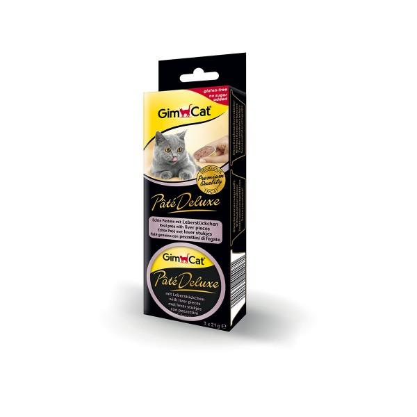 GimCat Katzensnack Pâté Deluxe mit Leberstückchen 3x21g