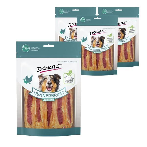 Dokas Hundesnack Hühnerbrust mit Ente 4x220g