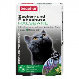 beaphar Zecken- und Flohschutz Halsband reflektierend für Katze 35cm