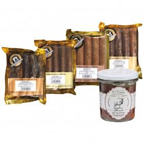 O'Canis Hundesnack Zigarren Probierpaket 2 4x5 Stück + 300g Nassfutter Hirsch GRATIS