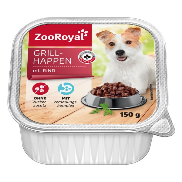 ZooRoyal Hunde-Nassfutter Grillhappen mit Rind