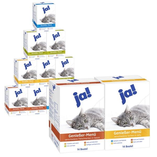 ja! Katzenfutter Nassfutter im Beutel verschiedene Sorten 168x100g