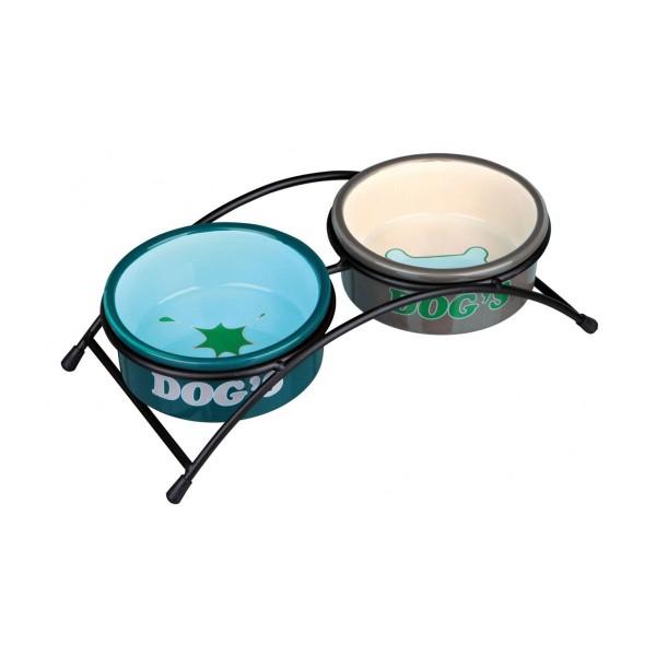 Trixie Keramik-Napf-Set Eat on Feet für Hunde braun/creme/petrol/mint