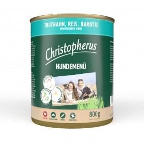 Christopherus Hundemenü mit Truthahn, Reis und Karotte