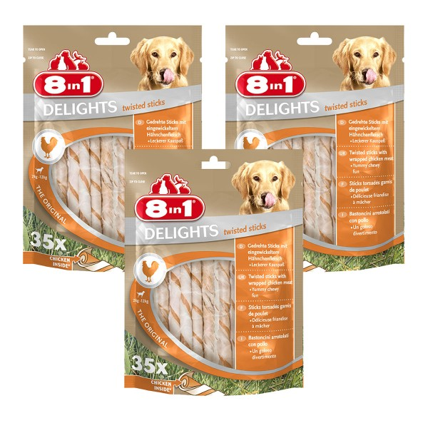 8in1 Hundesnack Delights Chicken Twisted Sticks 105 Stück