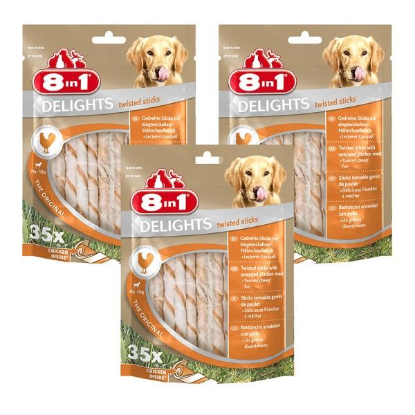 8in1 Hundesnack Delights Chicken Twisted Sticks 105 Stück