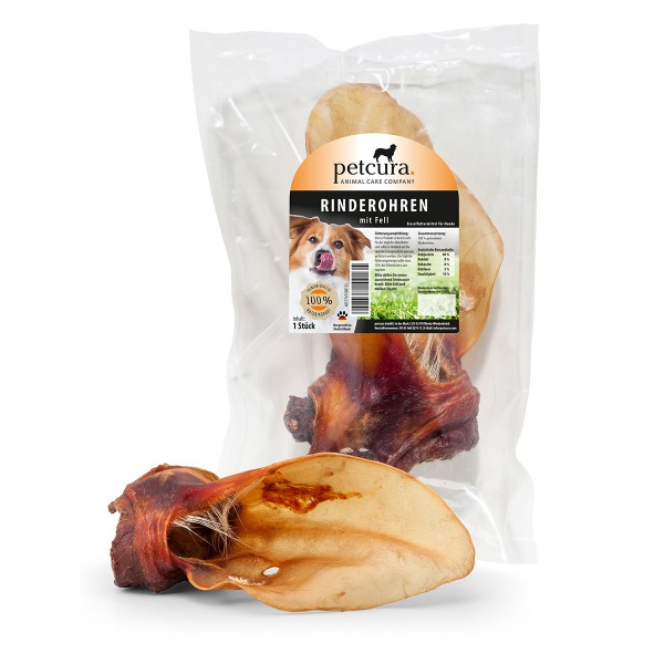 petcura fleischige Premium Rinderohren 1 Stück