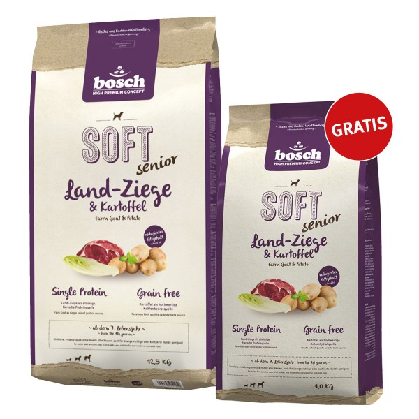 Bosch Plus Soft Senior Ziege und Kartoffel 12,5kg+1kg gratis