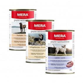 Mixpaket Meradog pure sensitive Nassfutter MEAT Truthahn, Geflügelherzen, Lamm 12x400g