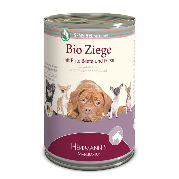 Herrmanns Bio Hundefutter Ziege mit Rote Beete und Hirse 12x400g