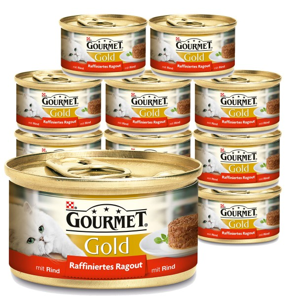 gourmet katzenfutter gold raffiniertes ragout rind 12x85g. Black Bedroom Furniture Sets. Home Design Ideas