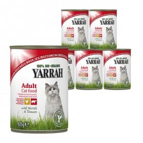 Yarrah Katzenfutter Bio Bröckchen Huhn und Rind 12x405g