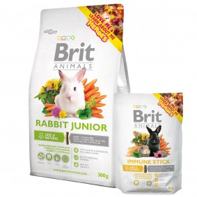 Probierpaket Brit Animals Rabbit Junior Complete 300g + Immune Stick 80g