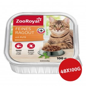 ZooRoyal Katzen-Nassfutter Feines Ragout mit Pute 48x100g