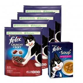 Felix Crunchy & Soft Rind 4x950g + Soup mit Rind, Huhn und Thunfisch 6x48g gratis