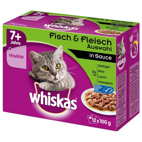 Whiskas Senior 7+ Fisch & Fleischauswahl in Sauce 12x100g