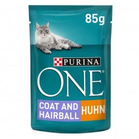 PURINA ONE COAT & HAIRBALL Katzenfutter nass in Sauce Huhn