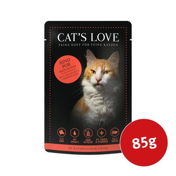 Cats Love Nassfutter Rind Pur mit Distelöl & Löwenzahn - 85g