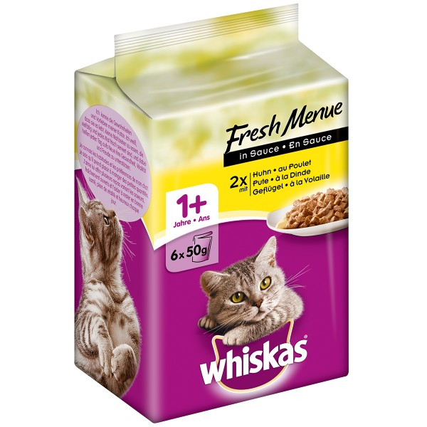 Whiskas Adult 1+ Fresh Menü in Sauce Geflügel 6x50g
