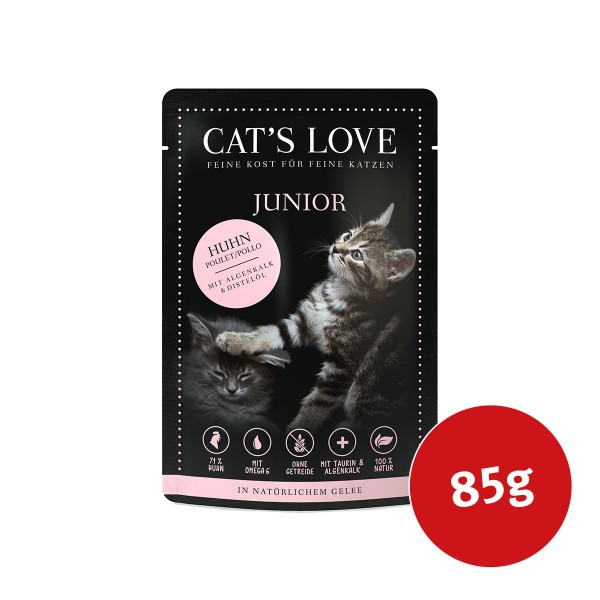 Cats Love Nassfutter Junior Huhn mit Algenkalk & Distelöl - 85g
