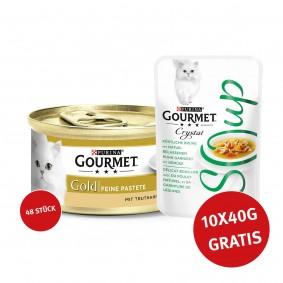 Gourmet Gold Feine Pastete Truthan 48x85g mit + Crystal Soup  mit Huhn und Gemüse 10x40g GRATIS!
