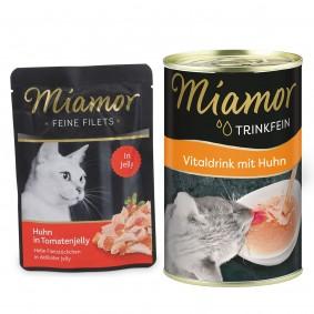 Miamor Feine Filets Huhn in Tomatenjelly 24x100g + Trinkfein 135ml GRATIS!