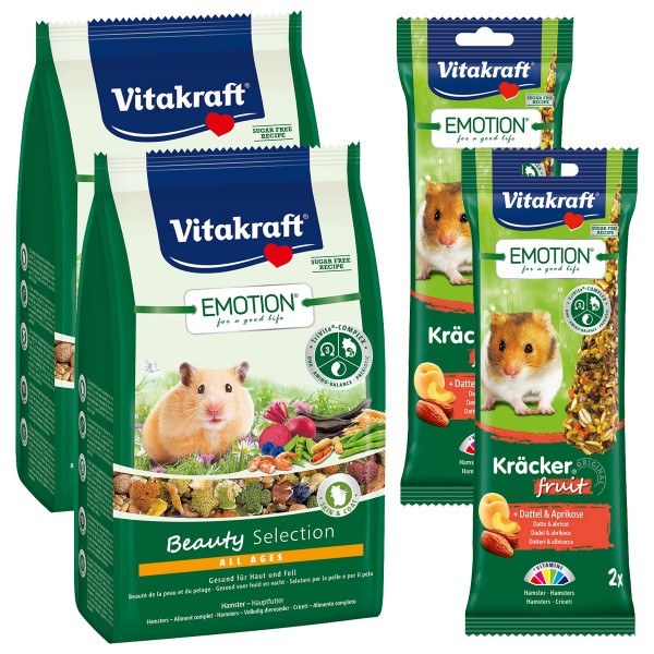 Vitakraft Emotion Beauty Selection Hamster 2x600g + 4 Fruit Kräcker