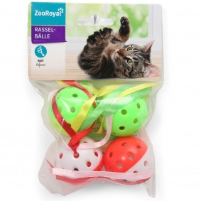 ZooRoyal míček s chrastítkem a pásky sada 4 kusů