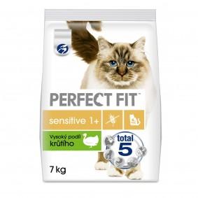 Perfect Fit granule s vysokým podílem krůtího pro dospělé citlivé kočky