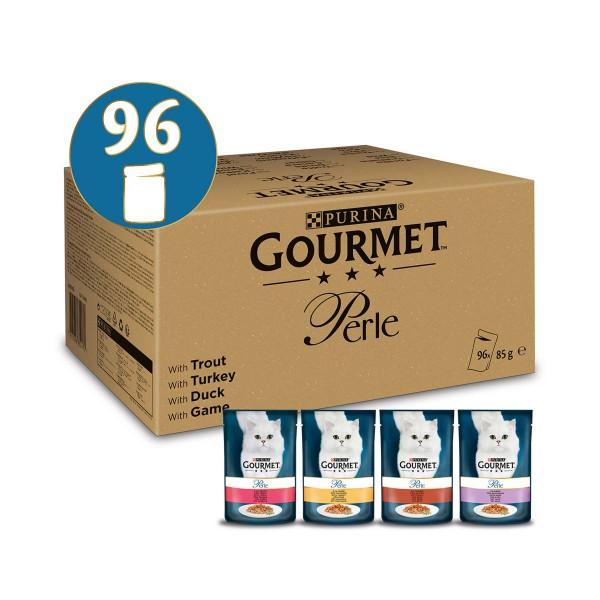GOURMET Perle Erlesene Streifen Mix mit Forelle, Truthahn, Ente und Wild 96x85g