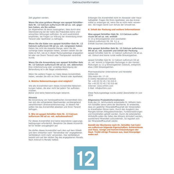 apopet Schüßler Salz Nr. 12 Calcium sulfuricum D6