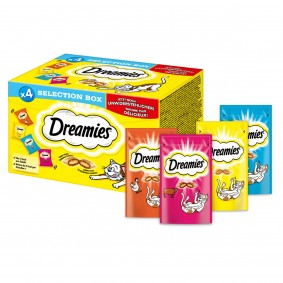 Dreamies Katzensnack Selection Box Huhn, Käse, Lachs und Rind 4x30g