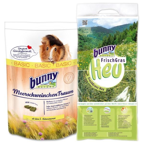 Bunny Allgäuer FrischGras Kleintierheu 3kg plus MeerschweinchenTraum basic 750g