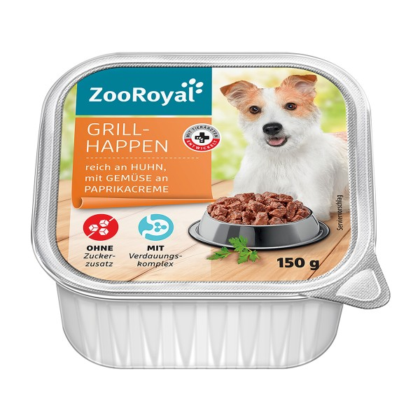 ZooRoyal Grillhappen reich an Huhn, mit Gemüse an Paprikacreme