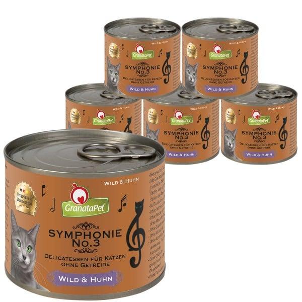 GranataPet Katzen-Nassfutter Symphonie No. 3 Wild & Huhn 6x200g