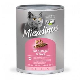 Grau Miezelinos Kitten mit Geflügel und Fisch