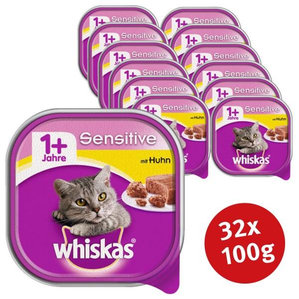 Whiskas Katzenfutter 1+ Sensitive mit Huhn 32 x 100g