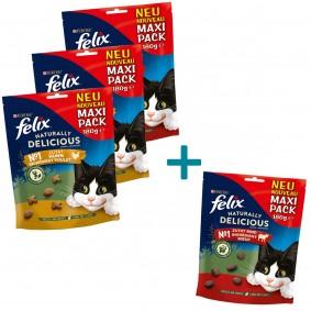 FELIX Naturally Delicious mit Huhn & Katzenminze 2x180g + 180g Rind & Goji Beeren + 180g Rin