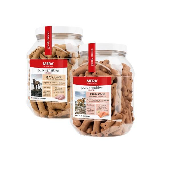 MERA pure sensitive goody snacks Mixpaket Truthahn & Reis / Lachs & Reis 4x600g