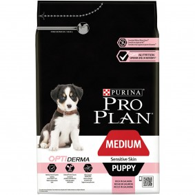 Pro Plan Medium Puppy für sensible Haut mit Optiderma reich an Lachs 3kg
