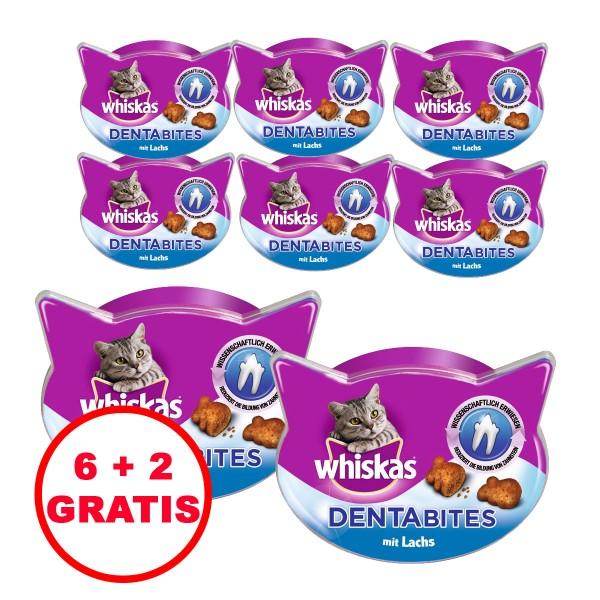 Whiskas Katzensnacks Dentabites mit Lachs 40g 6 plus 2 gratis
