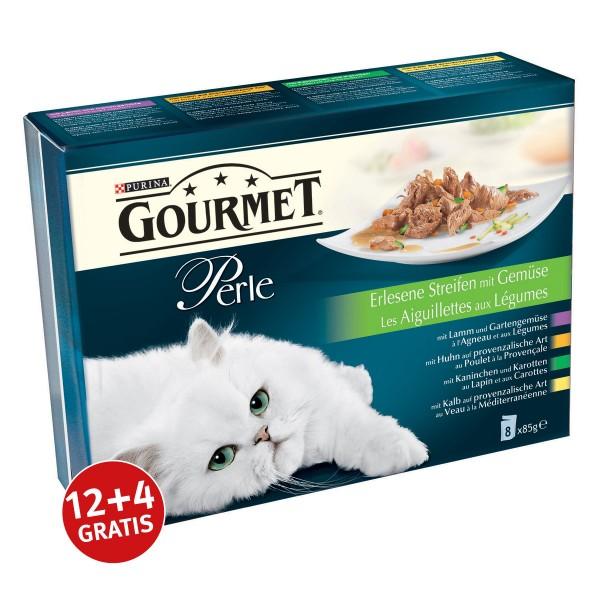 Gourmet Perle Multipack Erlesene Streifen mit Gemüse 85g 12+4 gratis