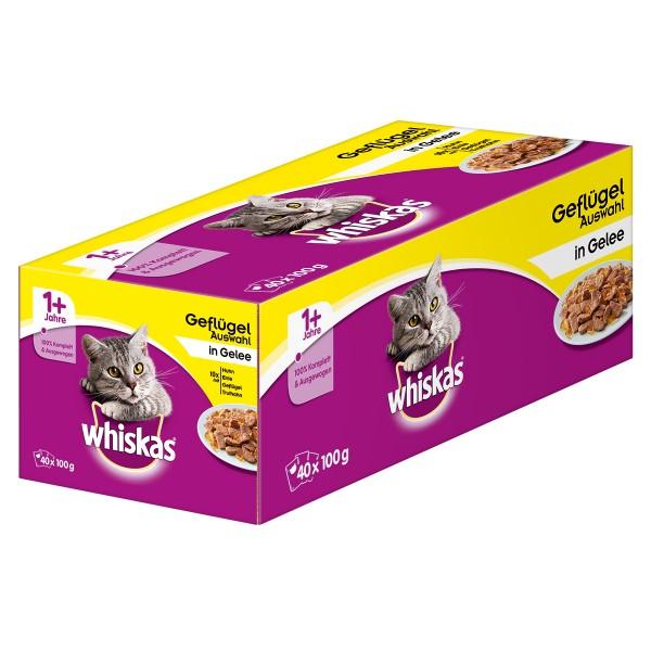 Whiskas 1+ Geflügelauswahl in Gelee Multipack 40x100g