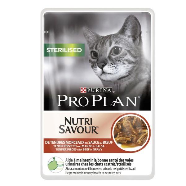 Pro Plan Katzen-Nassfutter Sterilised Rind 24x85g