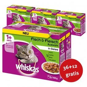 Whiskas Adult 1+ Fisch & Fleischauswahl in Gelee 48x100g