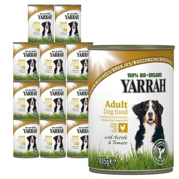 Yarrah Hundefutter Nassfutter Feuchtfutter Bio Bröckchen biologisch 24x405g